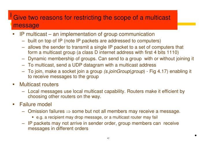 Revision of IP multicast (section 4.5.1 page154)