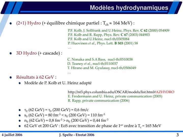 Modèles hydrodynamiques