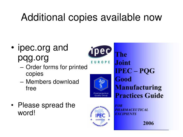 Additional copies available now