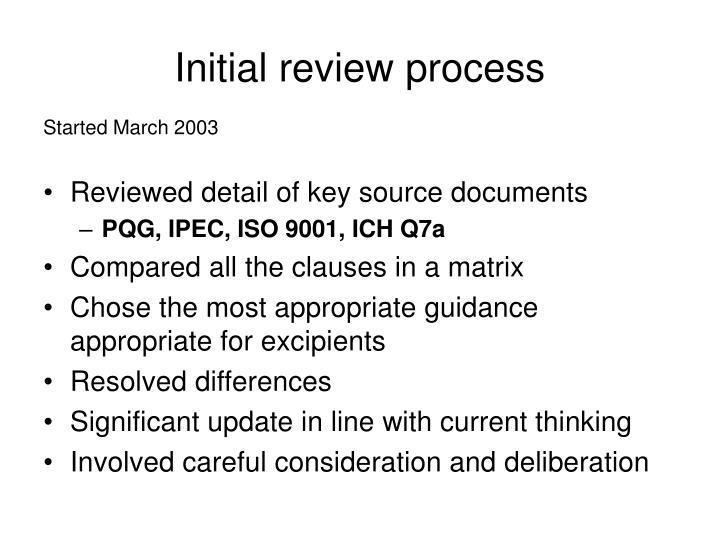 Initial review process