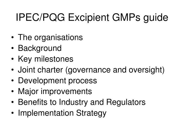 IPEC/PQG Excipient GMPs guide