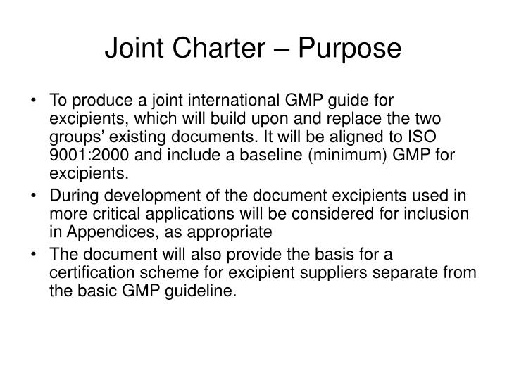 Joint Charter – Purpose