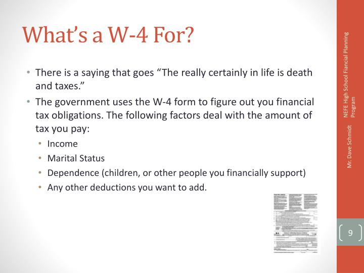 What's a W-4 For?