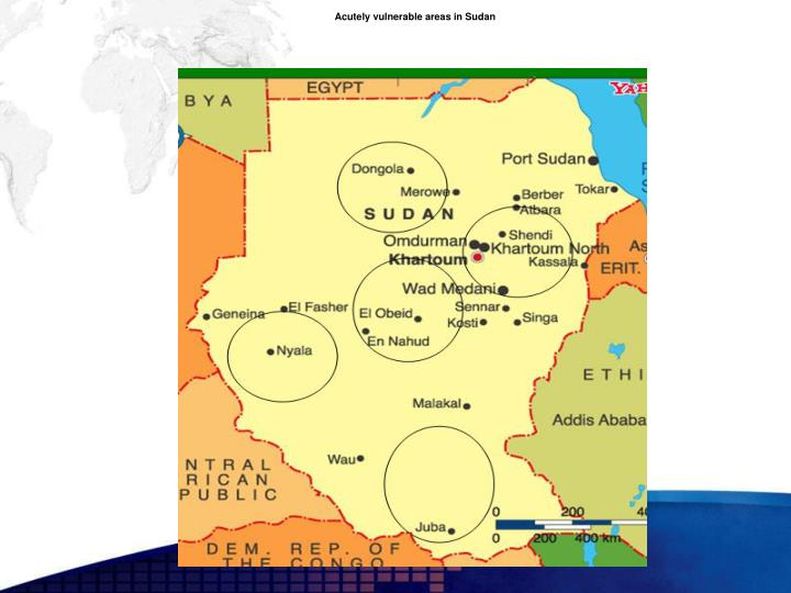 Acutely vulnerable areas in Sudan