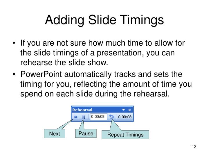 Adding Slide Timings