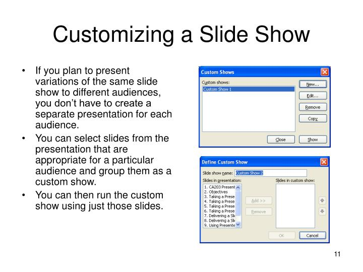 Customizing a Slide Show