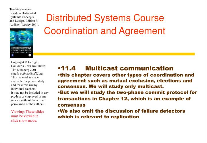 distributed systems course coordination and agreement