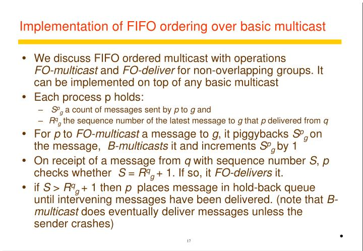 Implementation of FIFO ordering over basic multicast