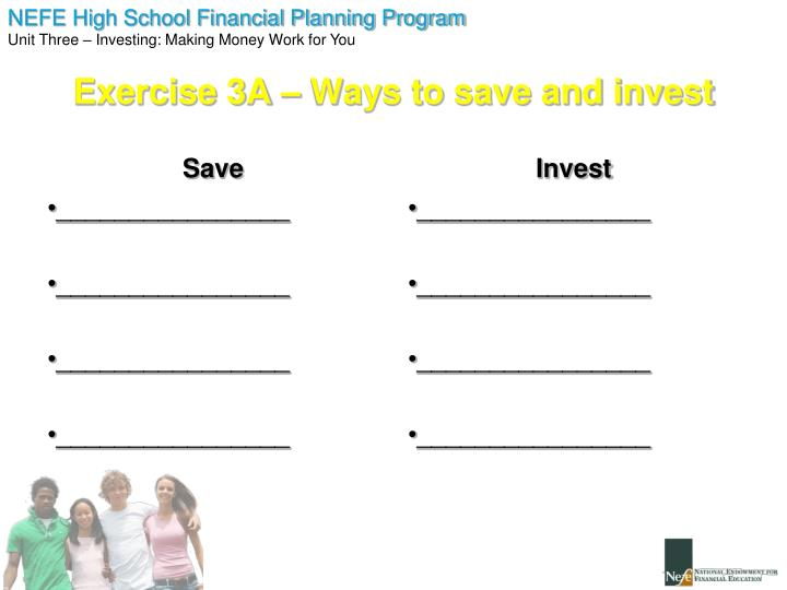 Exercise 3A – Ways to save and invest