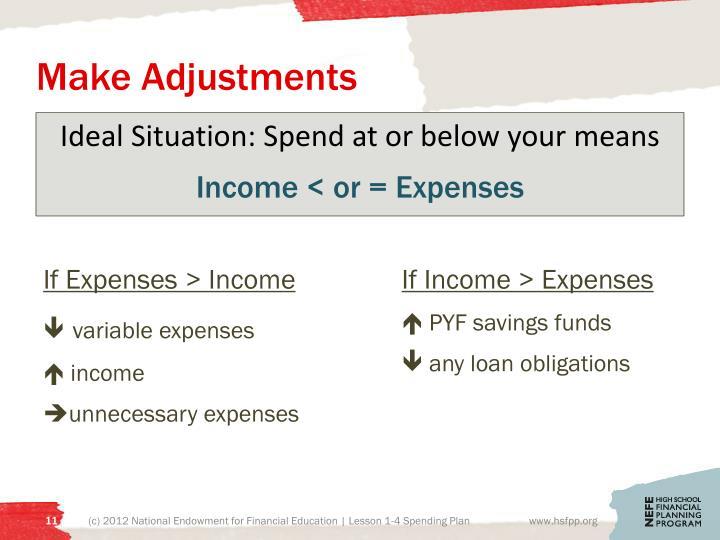 Make Adjustments