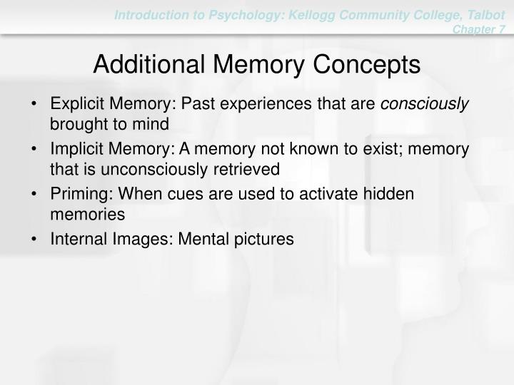 Additional Memory Concepts