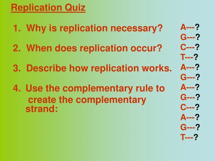 Replication Quiz