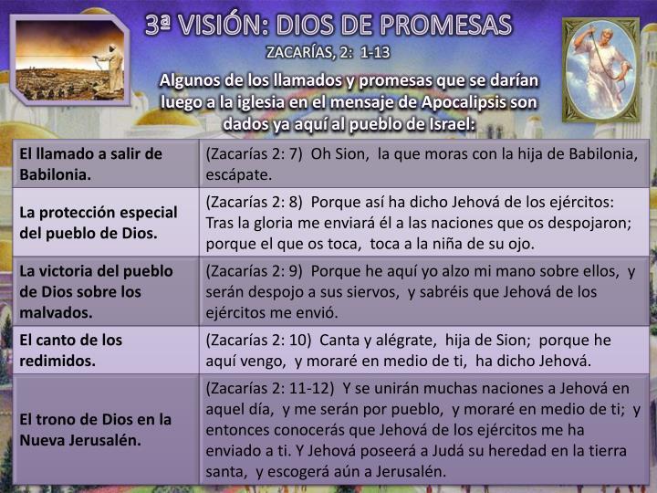 3ª VISIÓN: DIOS DE PROMESAS