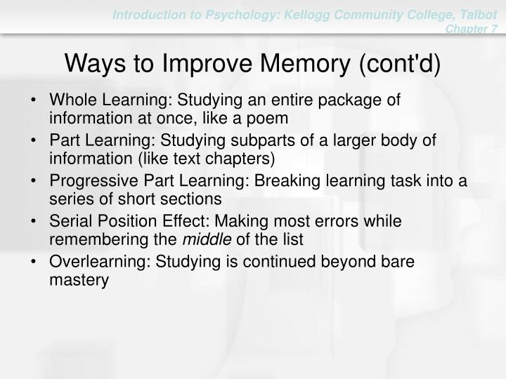 Ways to Improve Memory (cont'd)