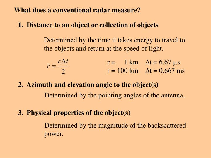 What does a conventional radar measure?