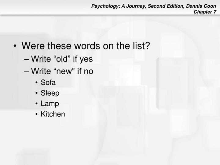Were these words on the list?