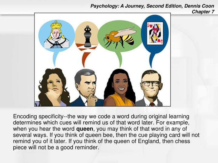 Encoding specificity--the way we code a word during original learning determines which cues will remind us of that word later. For example, when you hear the word