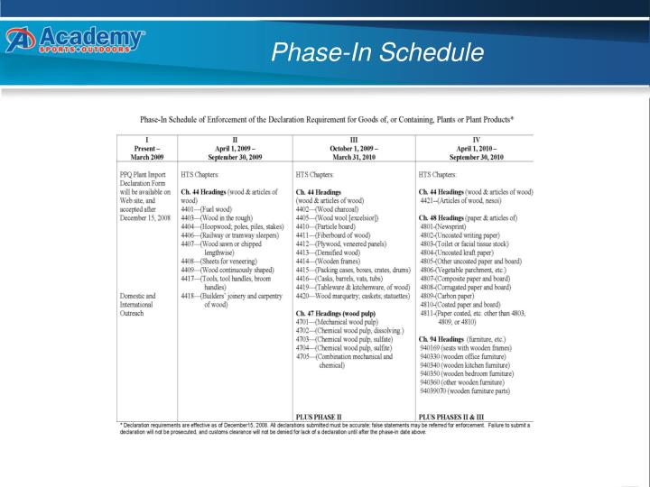 Phase in schedule