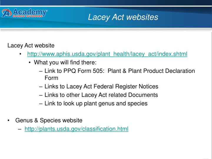 Lacey Act websites