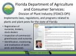 florida department of agriculture and consumer services division of plant industry fdacs dpi