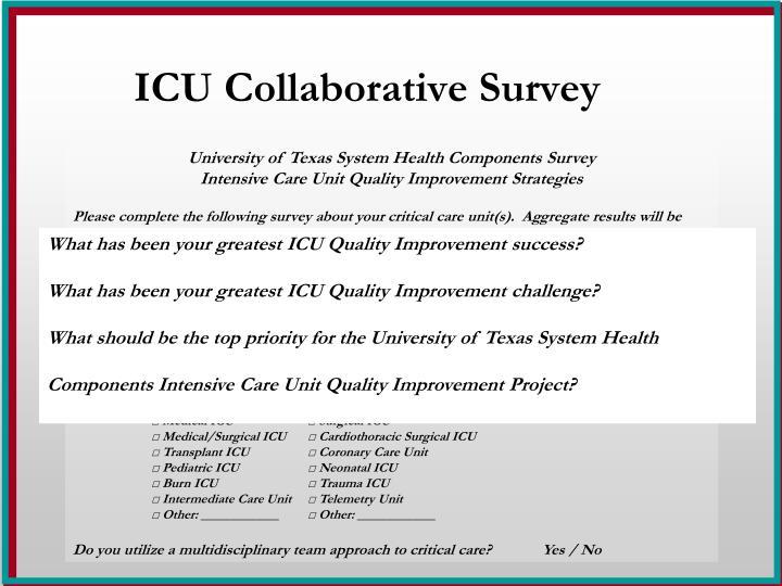 ICU Collaborative Survey