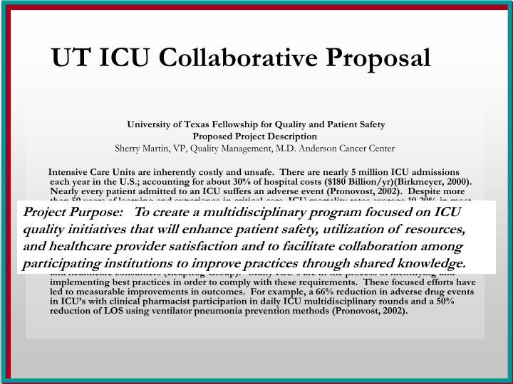 UT ICU Collaborative Proposal