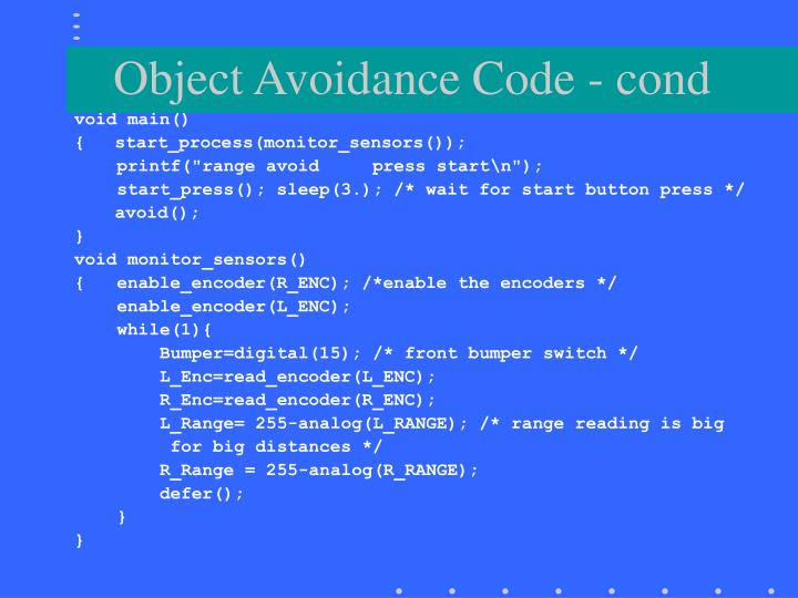 Object Avoidance Code - cond