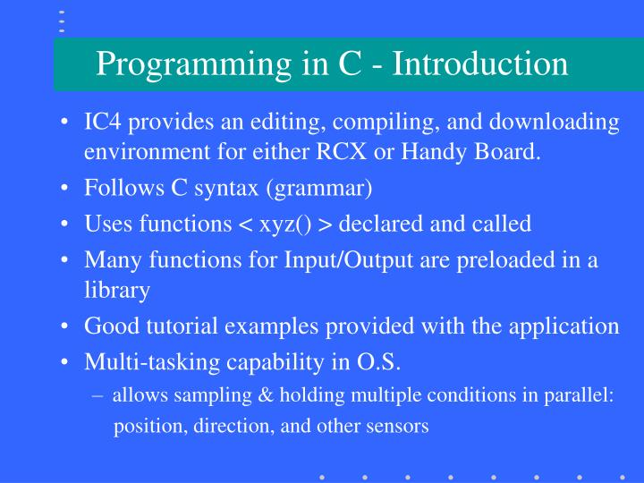 Programming in C - Introduction