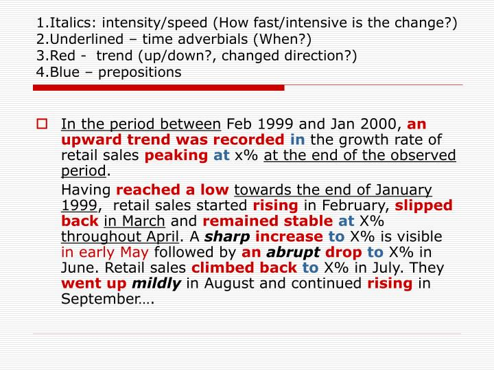 1.Italics: intensity/speed (How fast/intensive is the change?)
