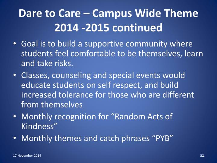 Dare to Care – Campus Wide Theme