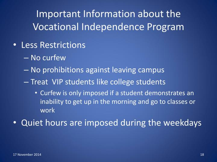 Important Information about the Vocational Independence Program