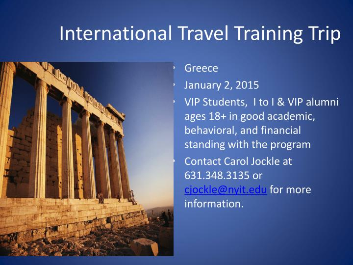 International Travel Training Trip