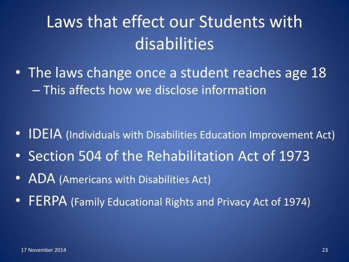 Laws that effect our Students with disabilities