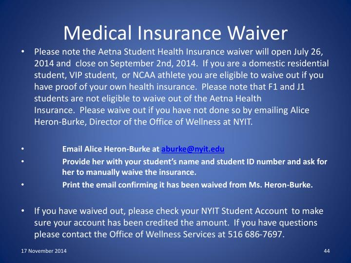 Medical Insurance Waiver