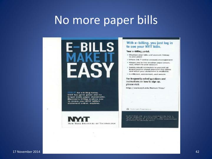 No more paper bills