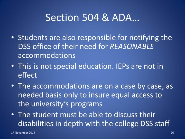 Section 504 & ADA…