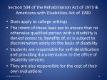 section 504 of the rehabilitation act of 1973 americans with disabilities act of 1990