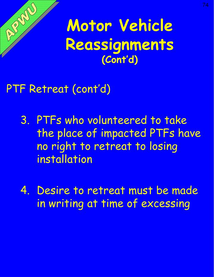 Motor Vehicle Reassignments