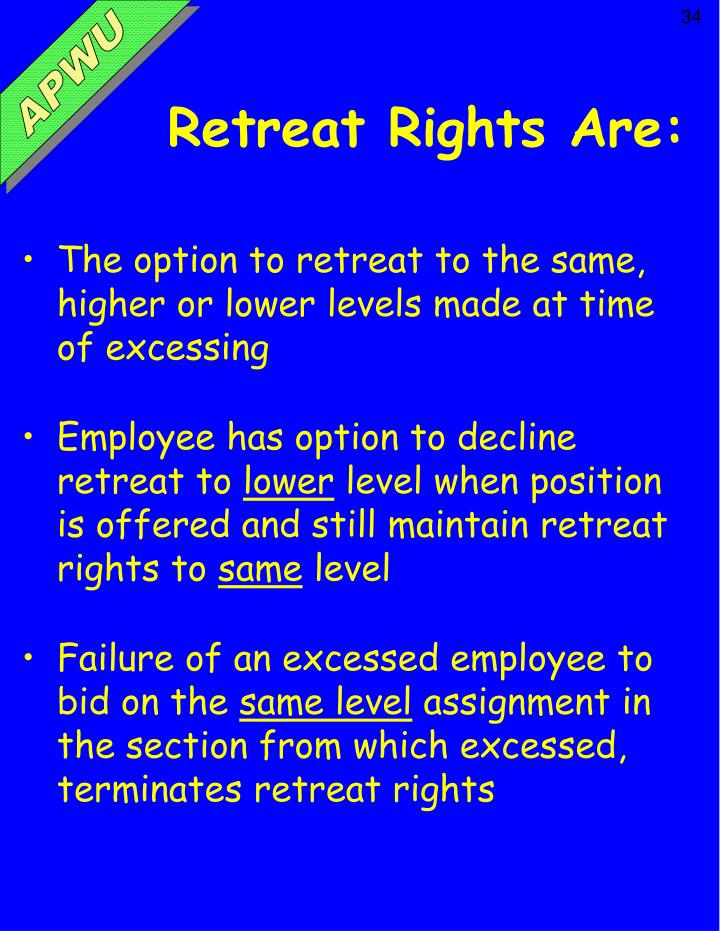 Retreat Rights Are: