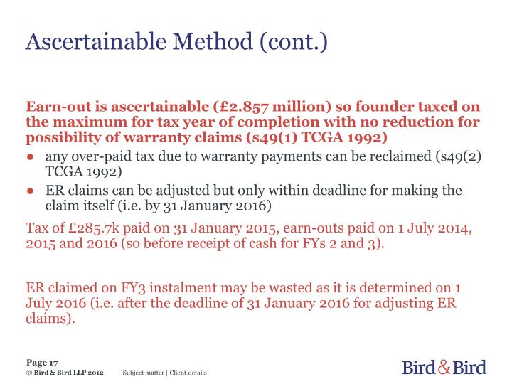 Ascertainable Method (cont.)