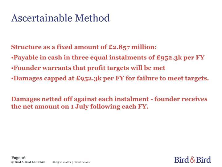 Ascertainable Method