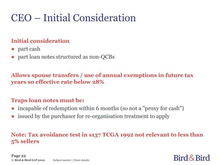 CEO – Initial Consideration