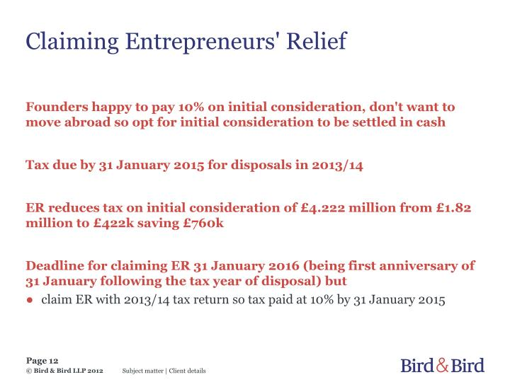 Claiming Entrepreneurs' Relief