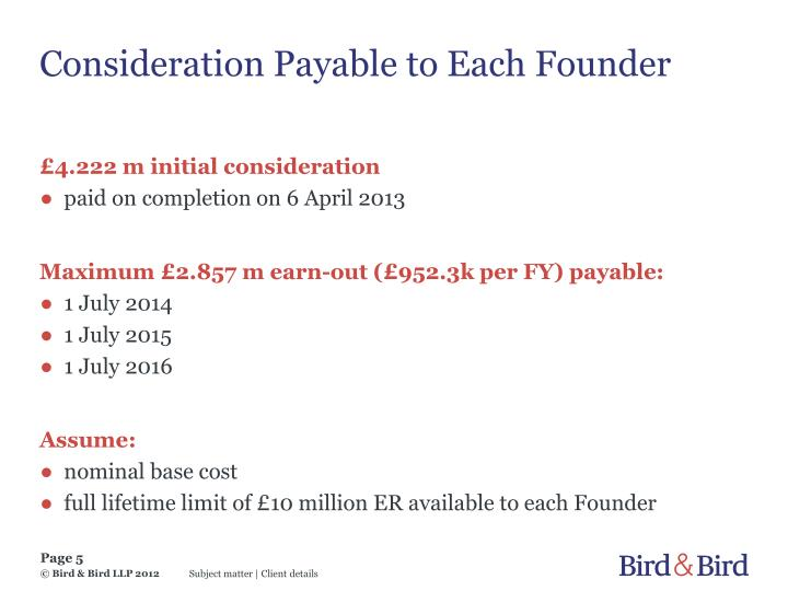 Consideration Payable to Each Founder