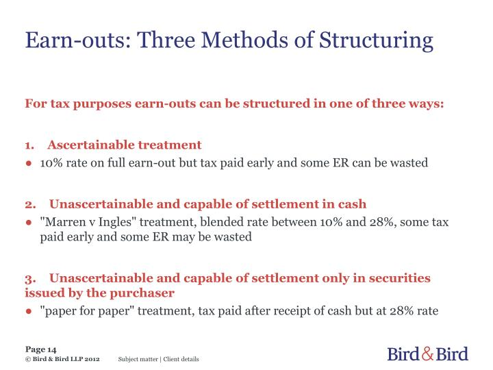 Earn-outs: Three Methods of Structuring