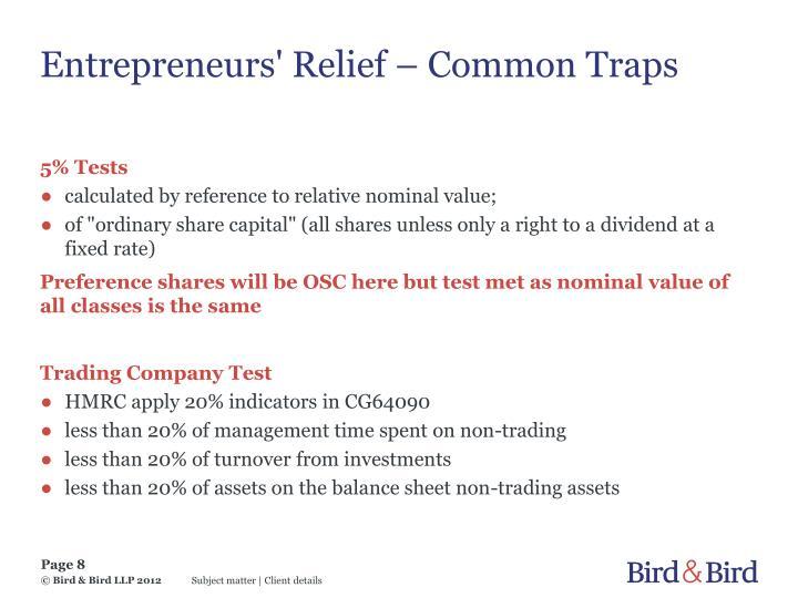 Entrepreneurs' Relief – Common Traps
