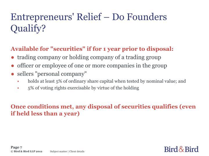 Entrepreneurs' Relief – Do Founders Qualify?