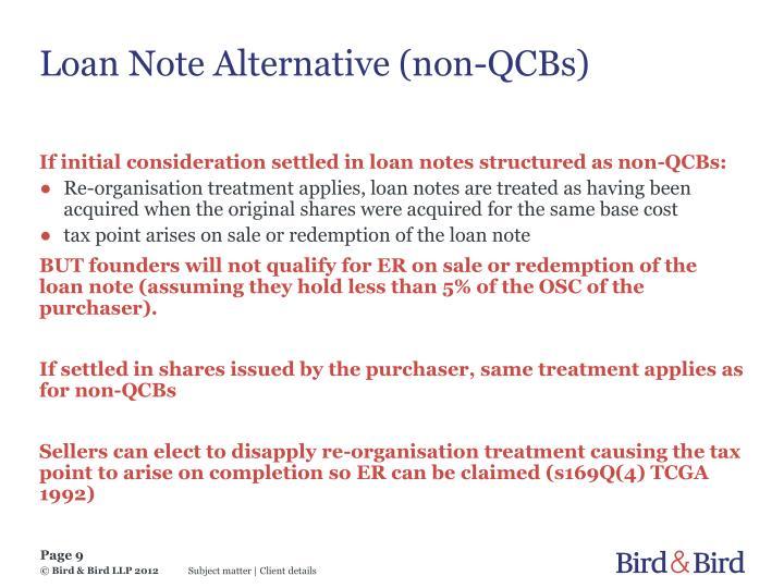 Loan Note Alternative (non-QCBs)