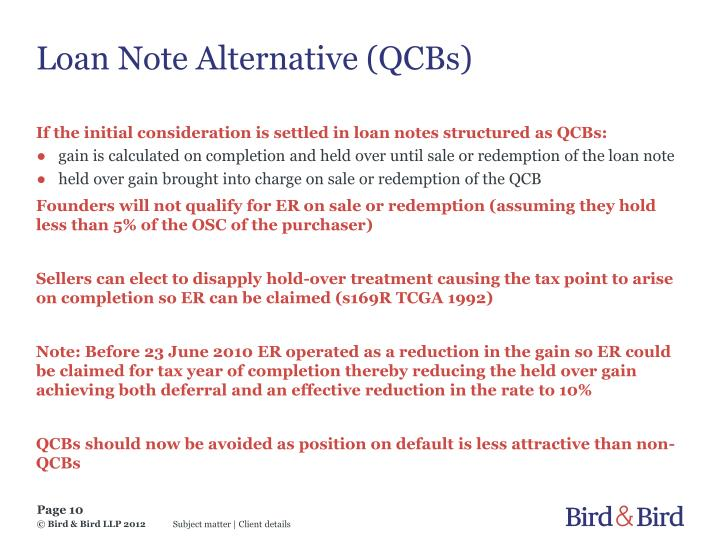 Loan Note Alternative (QCBs)