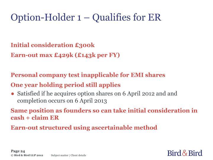 Option-Holder 1 – Qualifies for ER